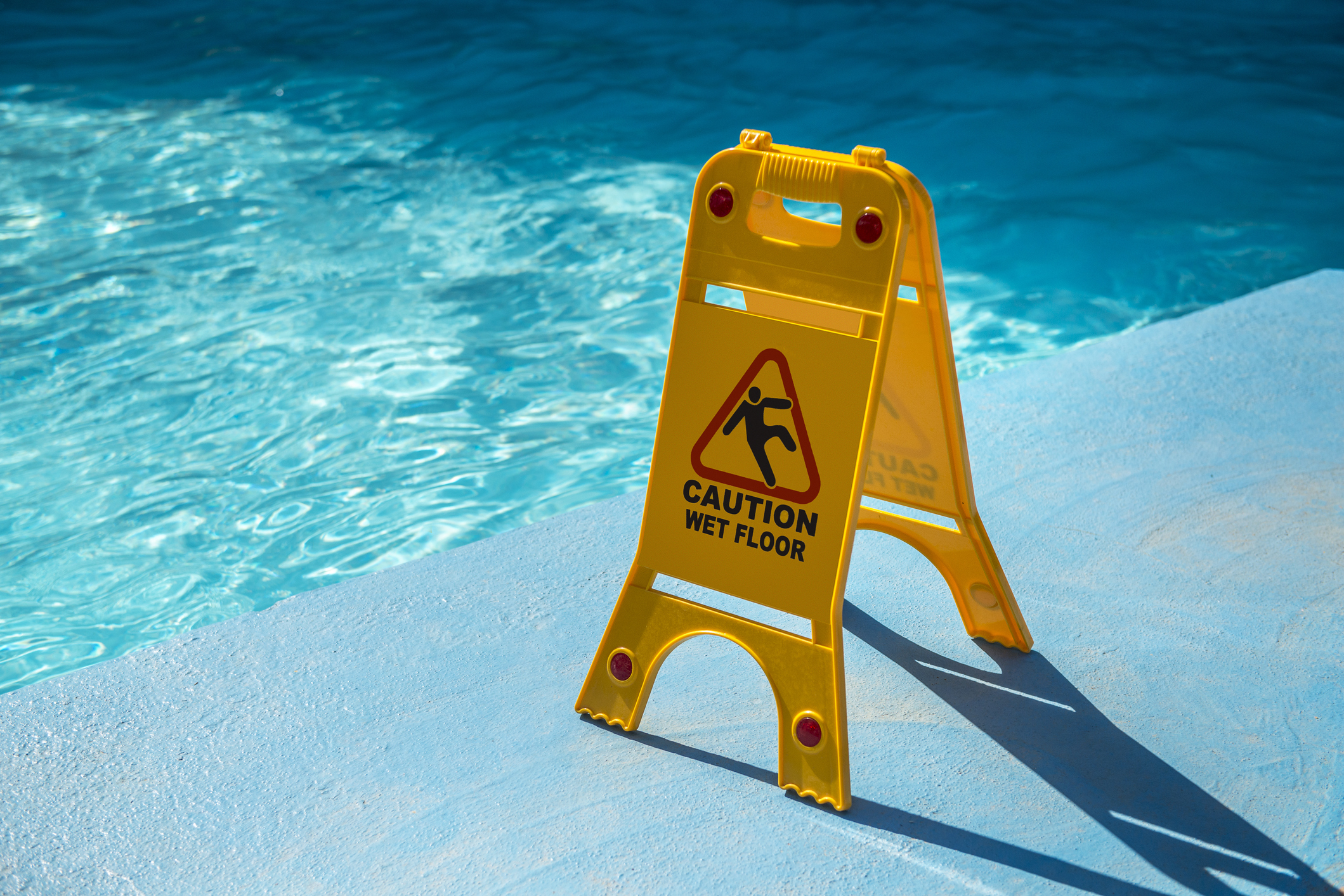 pool caution wet floor don't slip and fall