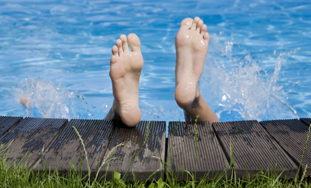slip and fall with feet sticking out of pool