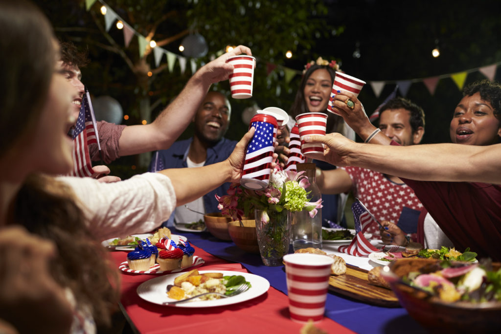 friends cheers at 4th of July party
