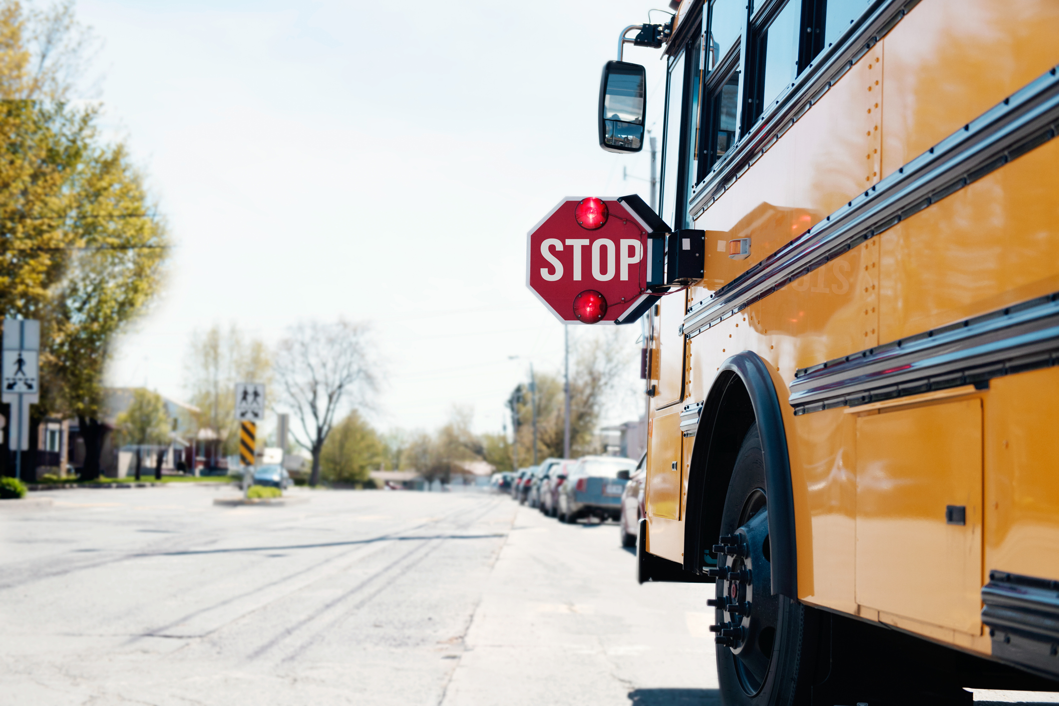 drive safely when school bus stop sign is out